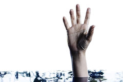 Hand raising above water Royalty Free Stock Photos