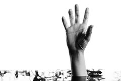 Hand raising above water Stock Images