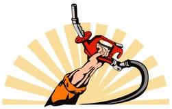 Hand raising a gas pump