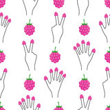 Hand with raspberries on all fingers seamless pattern. Stock Images
