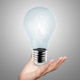 Hand reach light bulb of leadership. Concept Stock Image