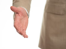 Hand reach out. To shake hands Stock Image