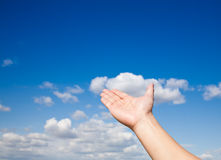 Hand reach sky. Man's hand reaching the blue sky Stock Photo