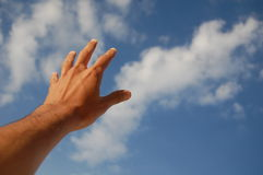 Hand Reach for the Sky. Hand reach for the blue sky Stock Photo