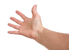 Hand Reaching. Female hand reaching on a white background Royalty Free Stock Photos