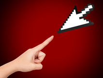 Hand Reaching Arrow Cursor Stock Images