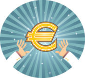 Hand Reaching Euro. Illustration of two hand reaching for Euro Royalty Free Stock Photography