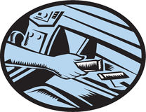 Hand Reaching in Glove Box for Energy Bar Oval Woodcut Stock Photography