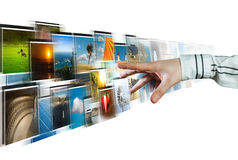 Hand reaching images streaming from the deep Royalty Free Stock Images