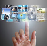 Hand reaching images streaming from the deep Royalty Free Stock Image