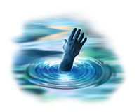 Hand reaching out from water Royalty Free Stock Images