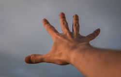 Hand reaching to sky. Hand of a man reaching to towards sky. Color toned image Stock Photos