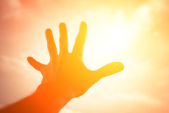 Hand reaching to sunshine sky. Hand of a man reaching to towards sunshine sky. Color toned image Stock Photography