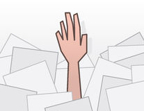 Hand reaching from under papers Stock Photos