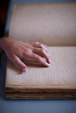 Hand reading braile Royalty Free Stock Photos