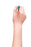 Hand is ready for drawing with green marker Isolated on white Royalty Free Stock Photography