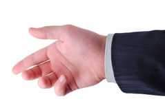 Hand ready to hold anything inside. Businessman hand ready to hold anything inside Royalty Free Stock Photo