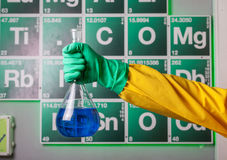 Hand with reagent in the flask. Over periodical table Royalty Free Stock Photography