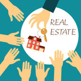 Hand real estate agent holding holds a key. Vector real estate concept in flat style - hand real estate agent holding holds a key with a tag in the form of homes royalty free illustration