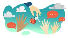 Hand of real estate agent holding house key. Demand concept. Hand of real estate agent holding house key and byuers pulling hands up. Buying cheap apartment vector illustration