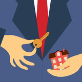 Hand real estate agent holding key and house. Vector real estate concept in flat style - hand real estate agent holding key and house royalty free illustration