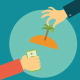 Hand of a realtor holds out the island with palm Royalty Free Stock Image