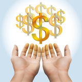 Hand receiving money or gold Stock Photo