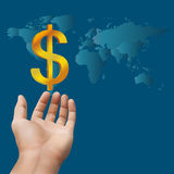 Hand receiving money or gold with world map background Stock Photography