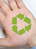 Hand with recycling sign Royalty Free Stock Images