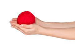 Hand with red ball. Woman hands with red ball of yarn for knitting isolated on white background Royalty Free Stock Images
