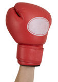 Hand in a red boxing glove. On a white background Stock Images