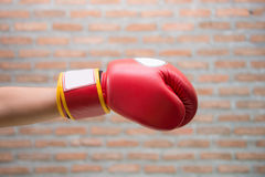 Hand in Red Boxing Gloves Stock Image