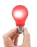 Hand with red bulb Stock Images