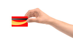 Hand and red card isolated on white Royalty Free Stock Photography
