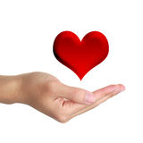 Hand with Red Heart. Hand underneath illustration of red heart with white studio background royalty free stock photo