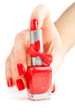 Hand with red manicure and nail polish.  Royalty Free Stock Photo