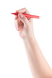 Hand with red marker royalty free stock photos