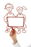 Hand with red marker drawing boy and girl Stock Photo