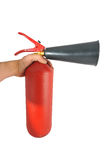 In hand red metal fire extinguisher and a plastic spray Stock Images