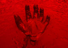 Hand red in mud background Royalty Free Stock Image
