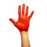 Hand in red paint. Isolated on white background royalty free stock photos