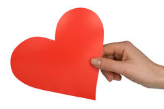 Hand with red paper heart Stock Photography