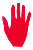 Hand of red paper showing stop sign Royalty Free Stock Image