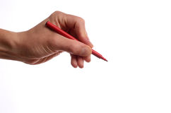 Hand with a red pen. On a white background Royalty Free Stock Photo