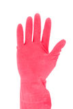 Hand with red rubber glove Stock Images