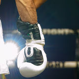 Hand of referee hold on hand Seyedisa Alamdarnrzam of Iran in Thai Fight 2013. Royalty Free Stock Photography