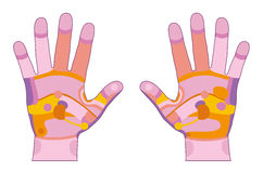 Hand reflexology pink Royalty Free Stock Photos
