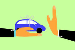 Hand - Refuse Gift (Car) From Other Hand Royalty Free Stock Photo