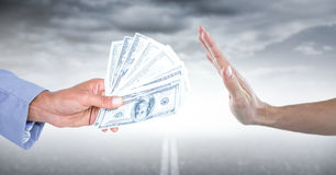 Hand refusing money against road and stormy sky. Digital composite of Hand refusing money against road and stormy sky stock illustration