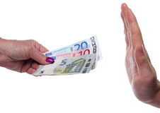 Hand refusing money Stock Image